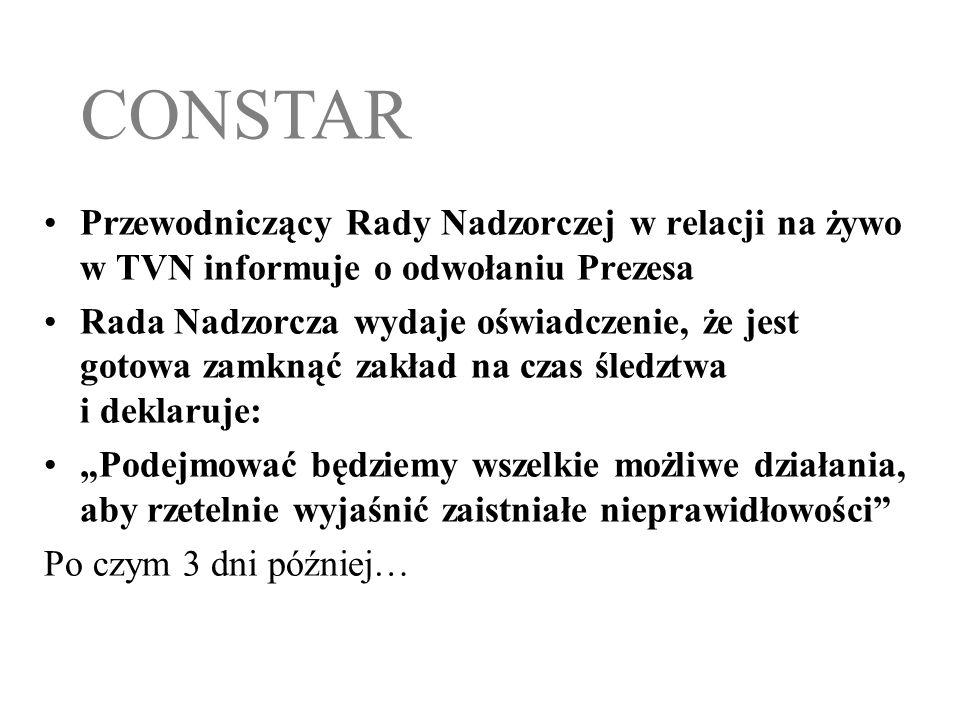 CONSTAR Przewodniczący Rady Nadzorczej w relacji na żywo w TVN informuje o odwołaniu Prezesa.
