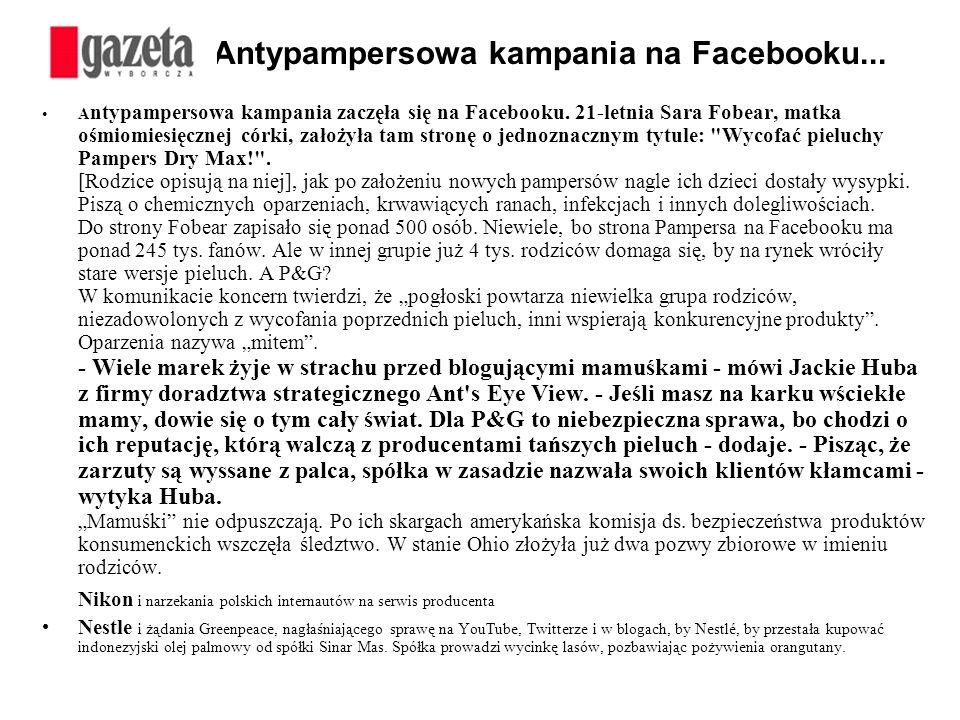 Antypampersowa kampania na Facebooku...