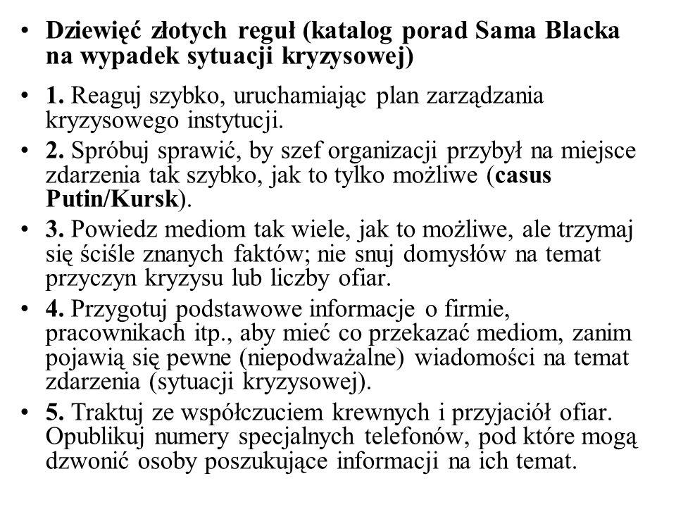 Dziewięć złotych reguł (katalog porad Sama Blacka na wypadek sytuacji kryzysowej)