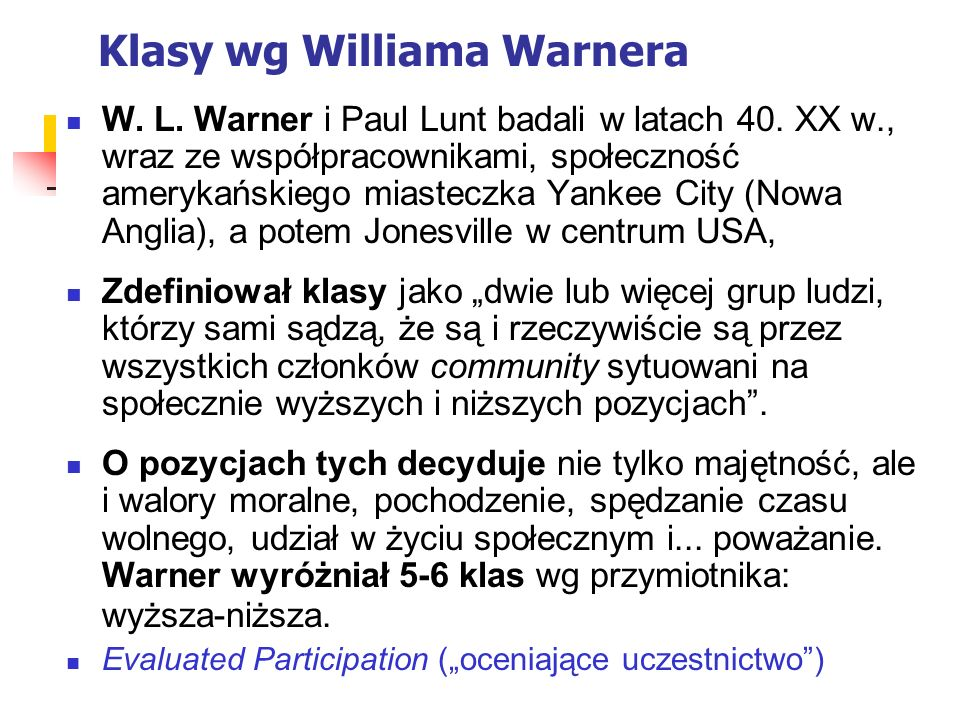 Klasy wg Williama Warnera