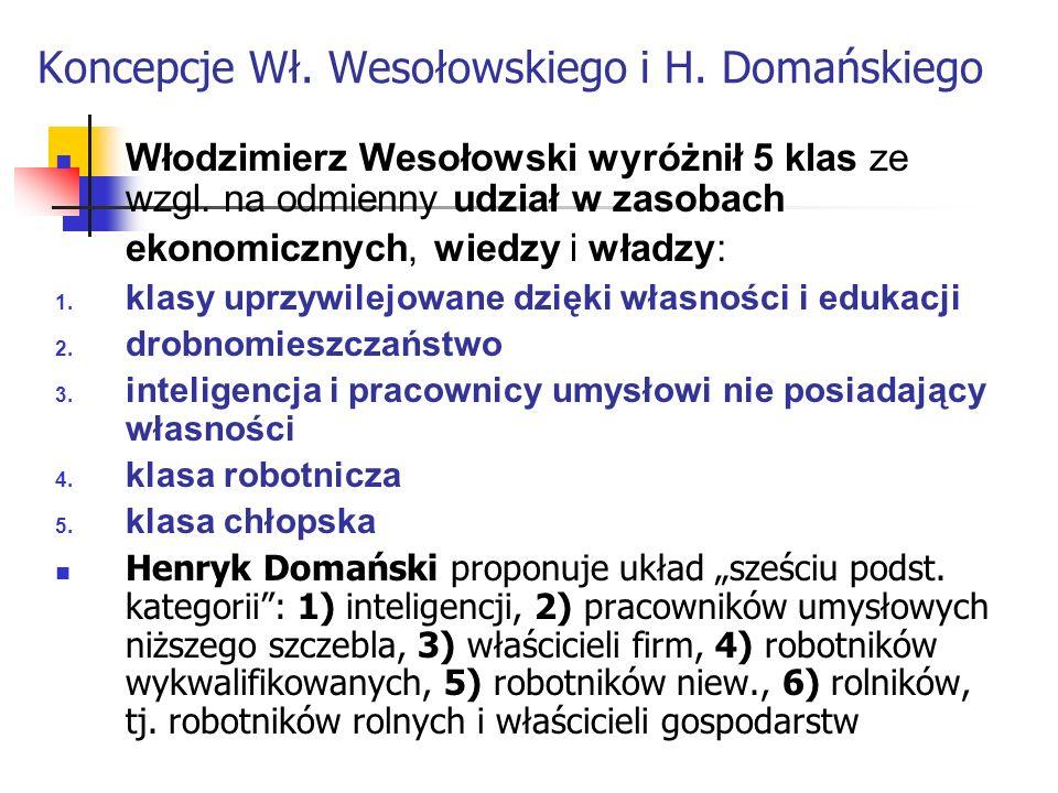 Koncepcje Wł. Wesołowskiego i H. Domańskiego