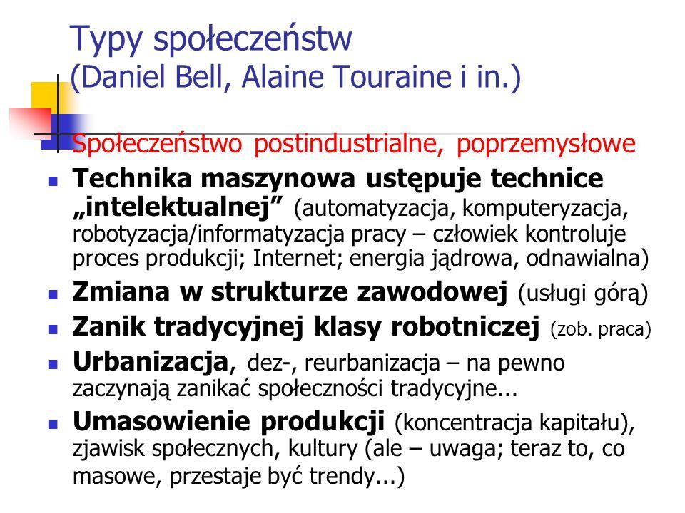 Typy społeczeństw (Daniel Bell, Alaine Touraine i in.)