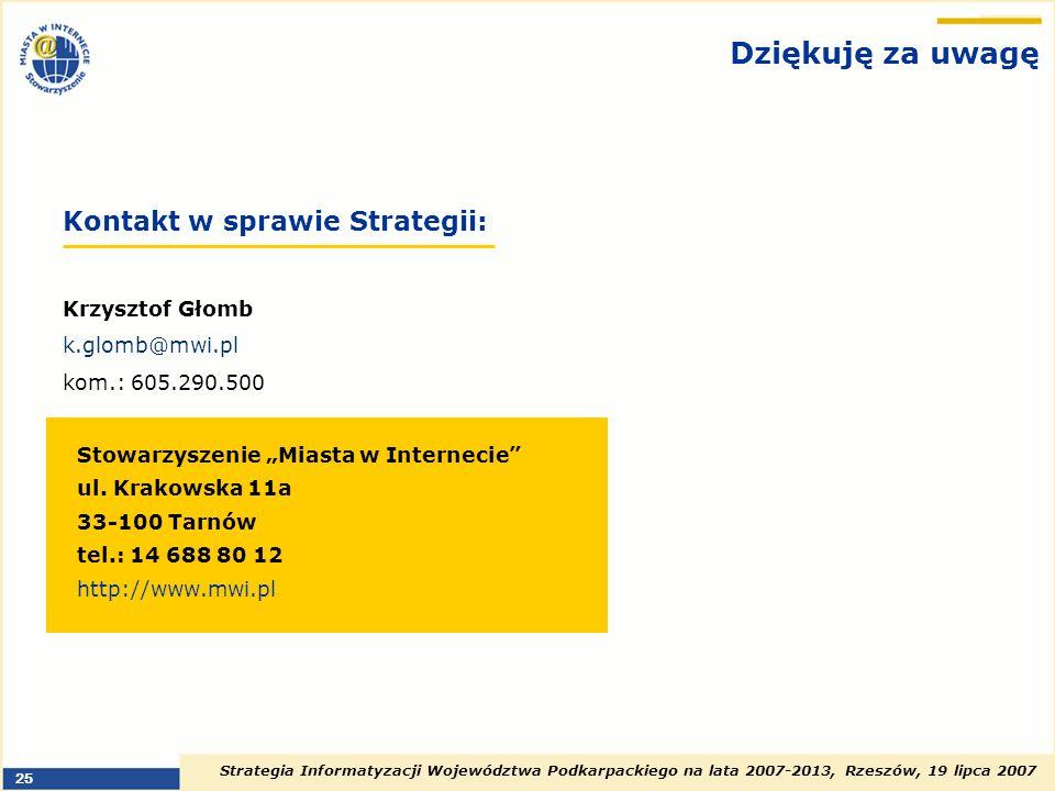 Dziękuję za uwagę Kontakt w sprawie Strategii: Krzysztof Głomb