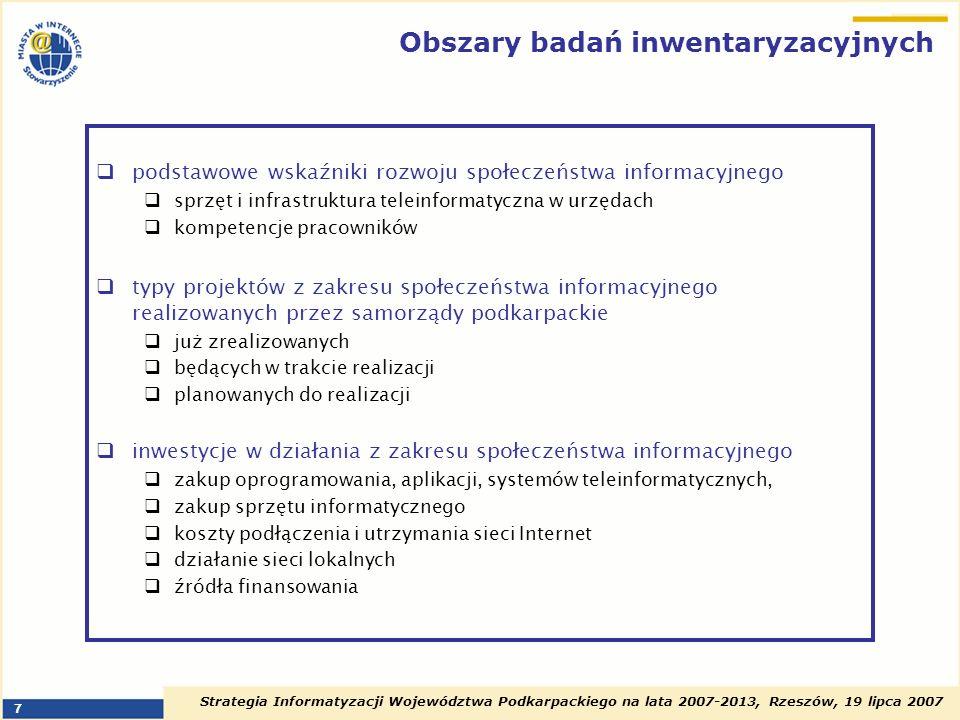 Obszary badań inwentaryzacyjnych