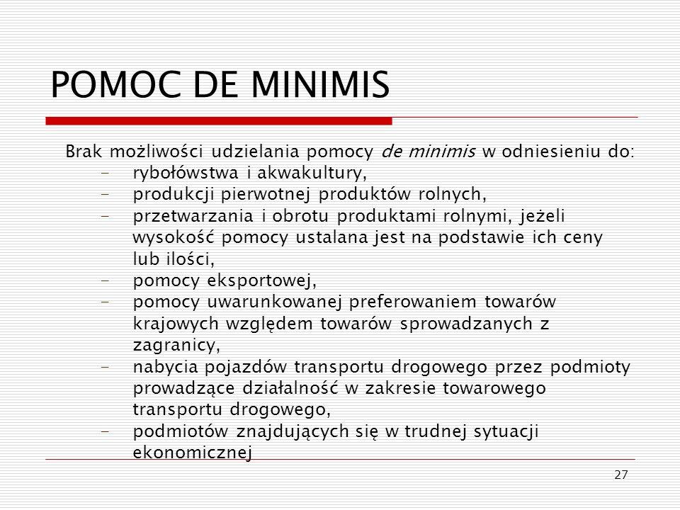 POMOC DE MINIMIS Brak możliwości udzielania pomocy de minimis w odniesieniu do: rybołówstwa i akwakultury,
