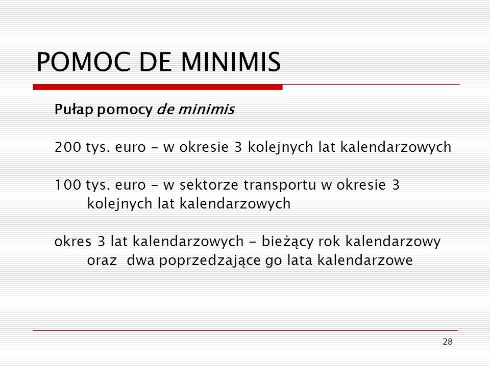 POMOC DE MINIMIS Pułap pomocy de minimis