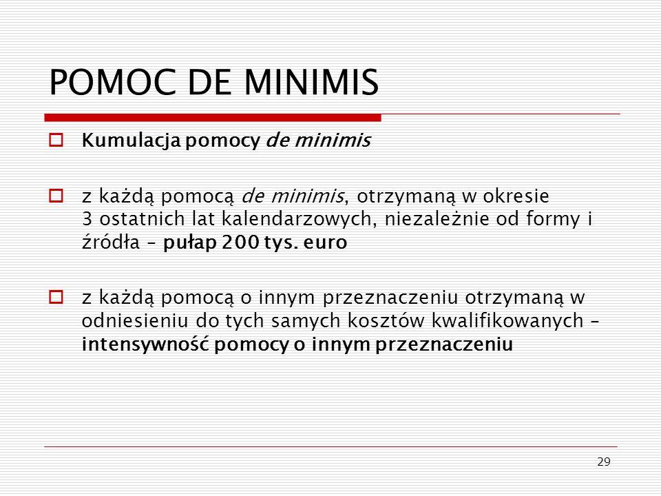 POMOC DE MINIMIS Kumulacja pomocy de minimis