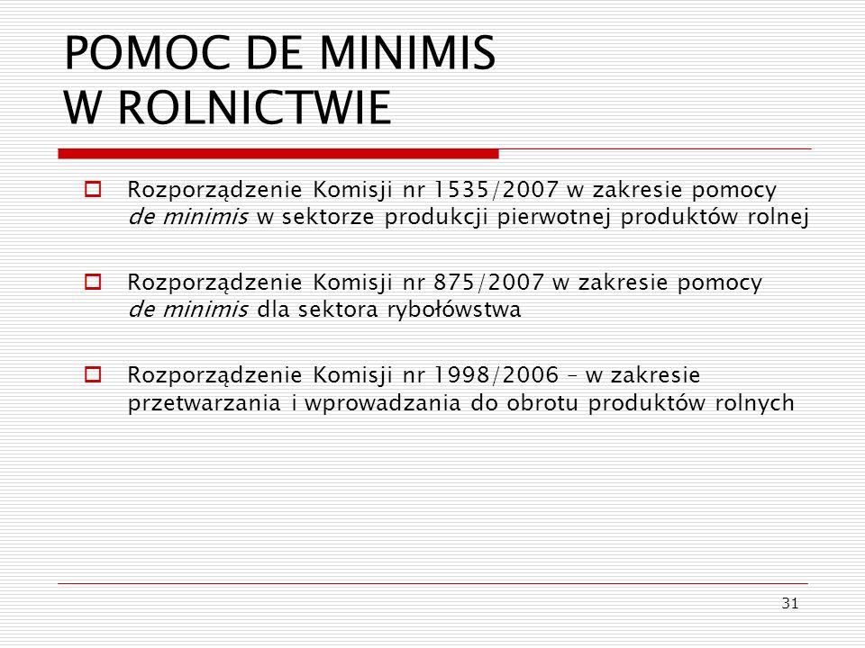 POMOC DE MINIMIS W ROLNICTWIE