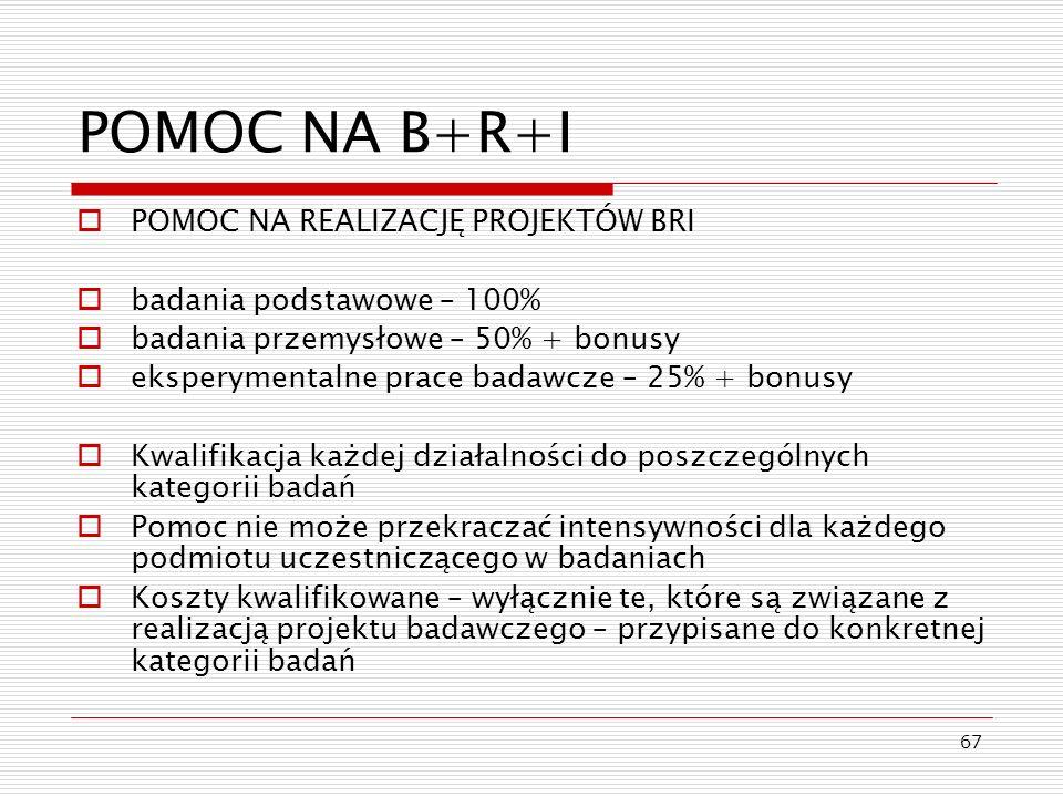 POMOC NA B+R+I POMOC NA REALIZACJĘ PROJEKTÓW BRI
