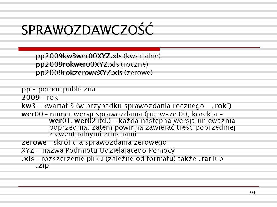 SPRAWOZDAWCZOŚĆ pp2009kw3wer00XYZ.xls (kwartalne)