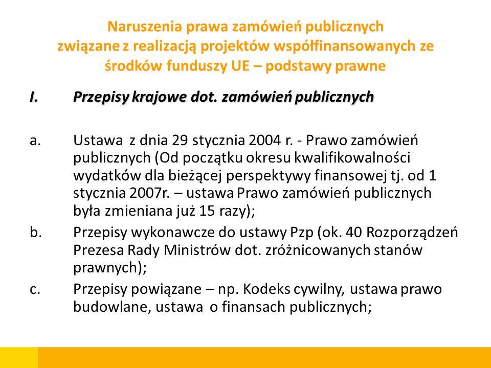 Naruszenia prawa zamówień publicznych związane z realizacją projektów współfinansowanych ze środków funduszy UE – podstawy prawne