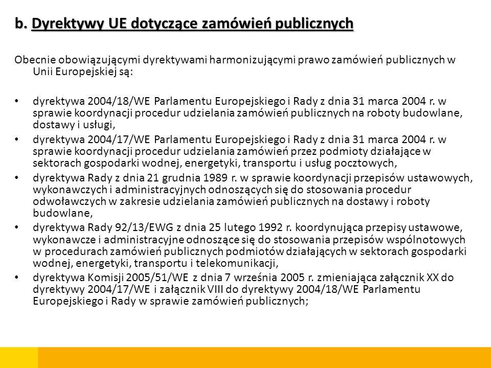b. Dyrektywy UE dotyczące zamówień publicznych