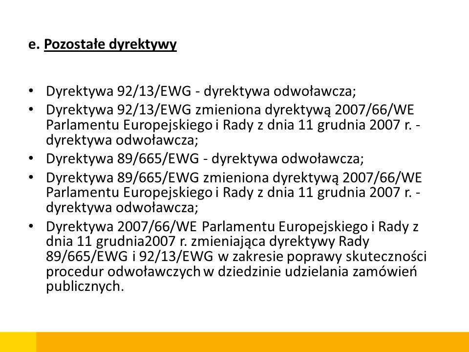 e. Pozostałe dyrektywy Dyrektywa 92/13/EWG - dyrektywa odwoławcza;