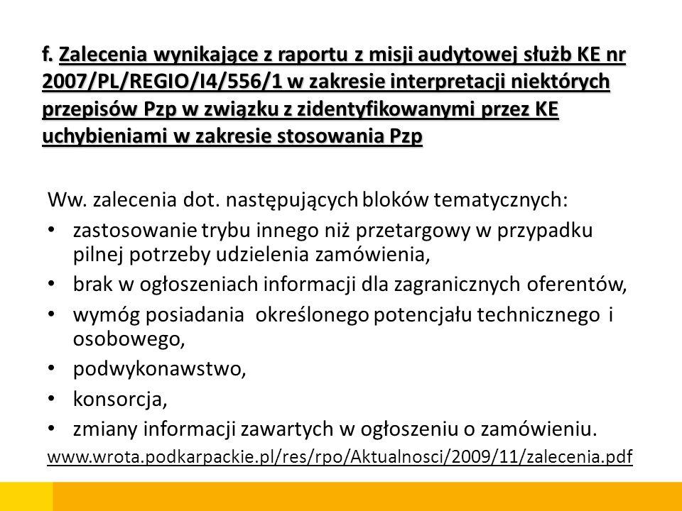 Ww. zalecenia dot. następujących bloków tematycznych: