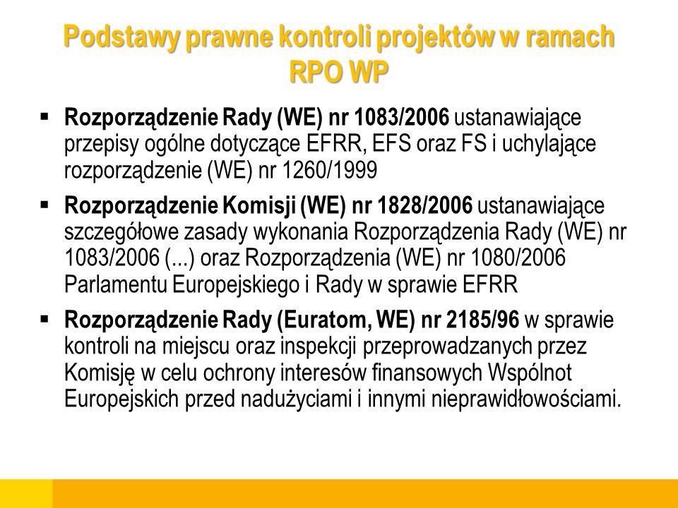 Podstawy prawne kontroli projektów w ramach RPO WP