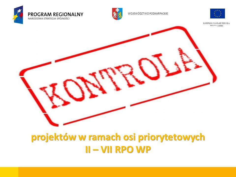 projektów w ramach osi priorytetowych II – VII RPO WP
