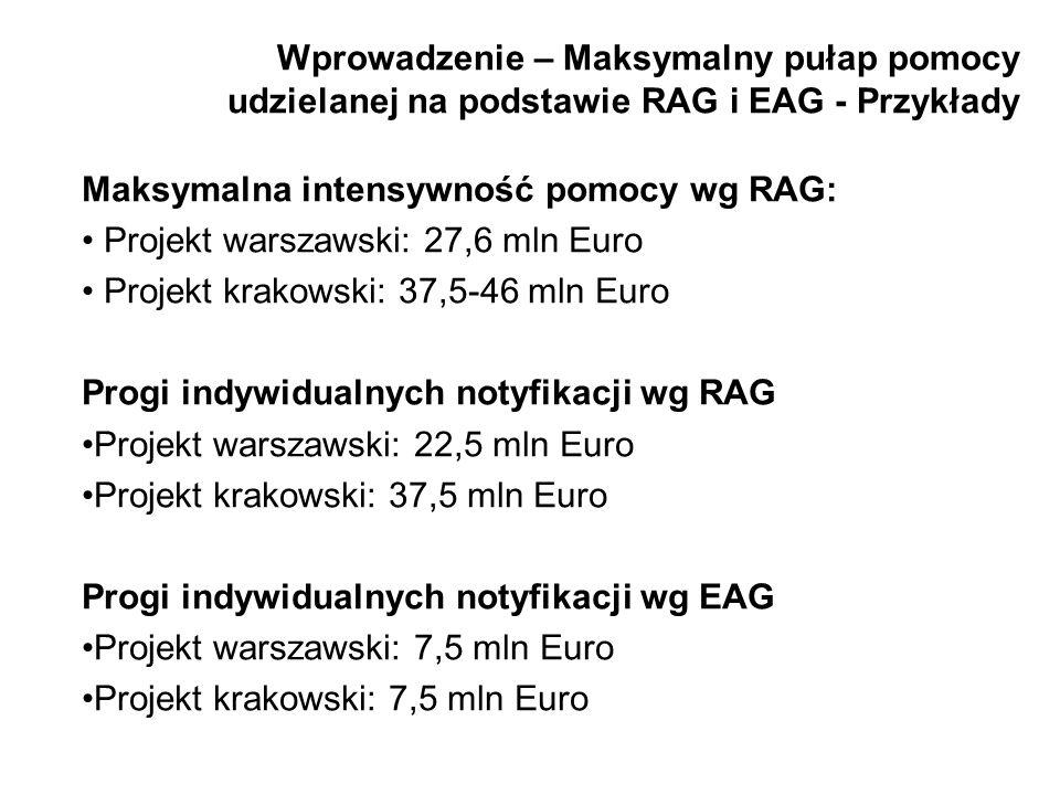 Wprowadzenie – Maksymalny pułap pomocy udzielanej na podstawie RAG i EAG - Przykłady