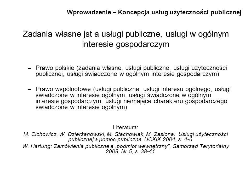 Wprowadzenie – Koncepcja usług użyteczności publicznej