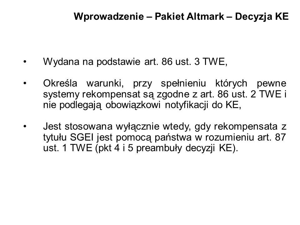 Wprowadzenie – Pakiet Altmark – Decyzja KE