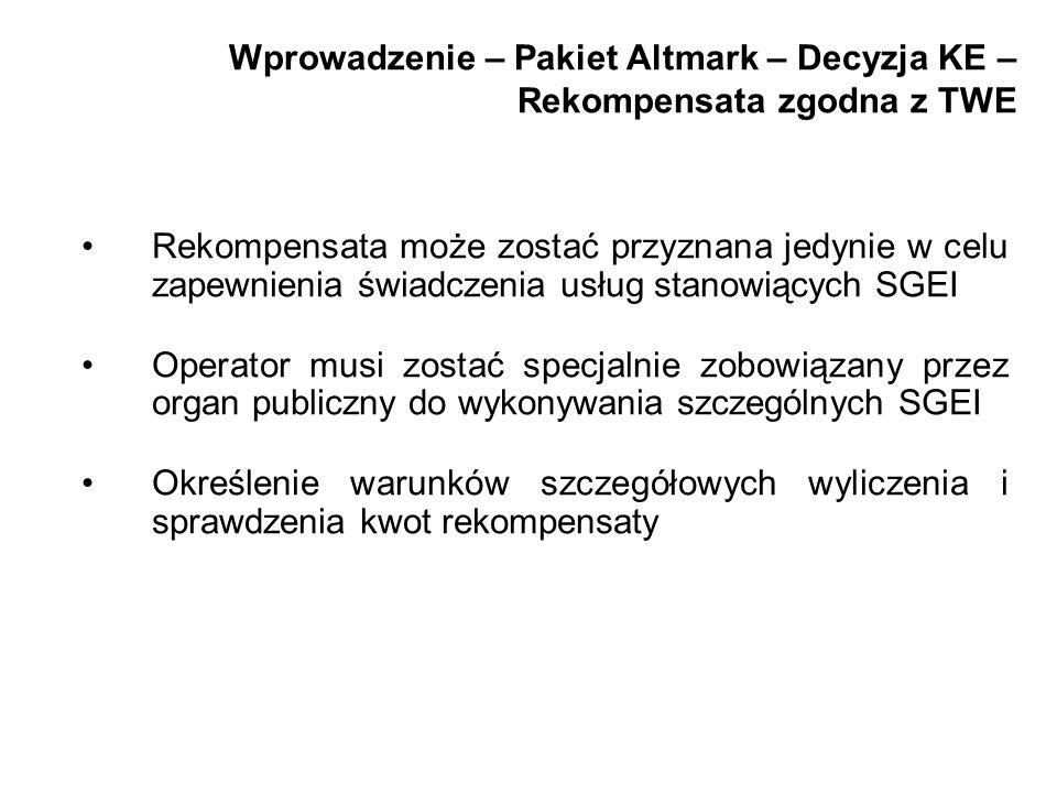 Wprowadzenie – Pakiet Altmark – Decyzja KE – Rekompensata zgodna z TWE