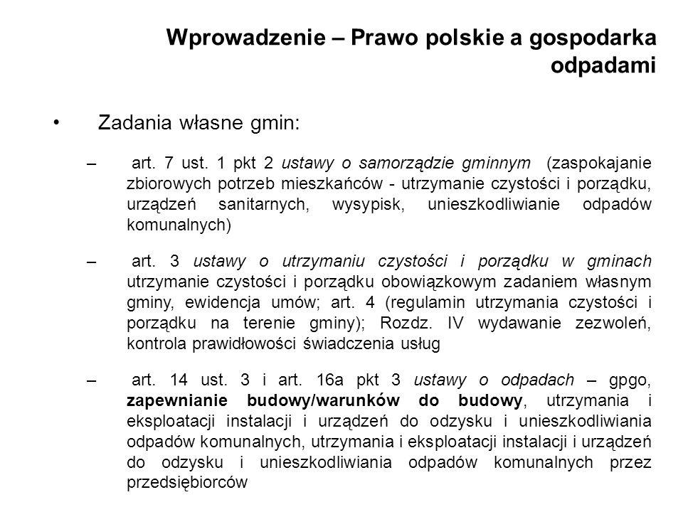 Wprowadzenie – Prawo polskie a gospodarka odpadami