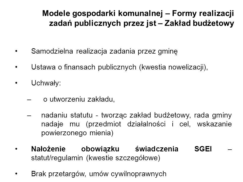 Modele gospodarki komunalnej – Formy realizacji zadań publicznych przez jst – Zakład budżetowy