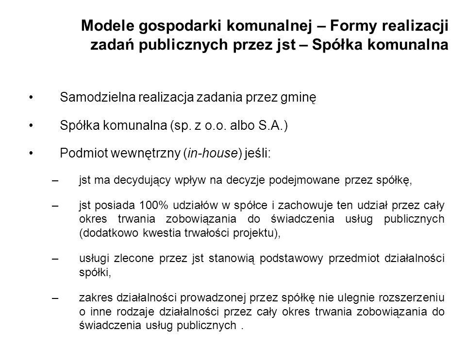 Modele gospodarki komunalnej – Formy realizacji zadań publicznych przez jst – Spółka komunalna