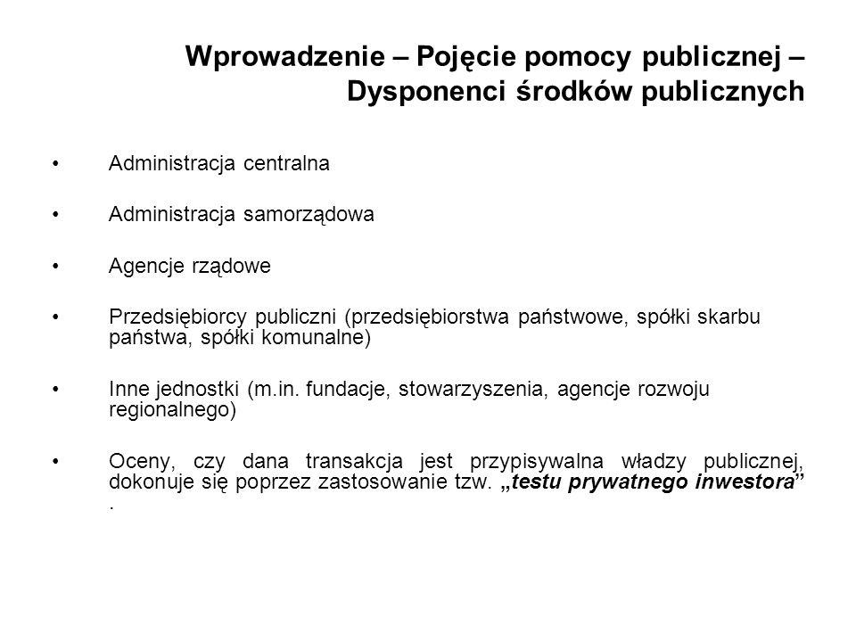 Wprowadzenie – Pojęcie pomocy publicznej – Dysponenci środków publicznych