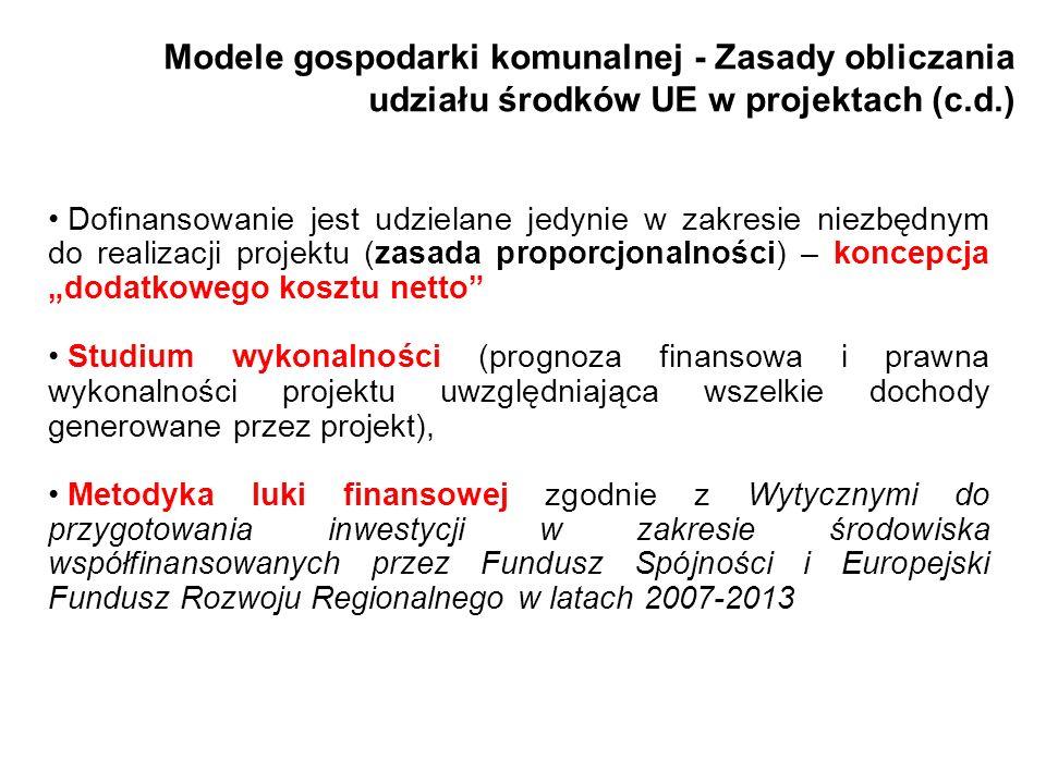 Modele gospodarki komunalnej - Zasady obliczania udziału środków UE w projektach (c.d.)