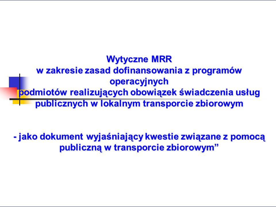 w zakresie zasad dofinansowania z programów operacyjnych