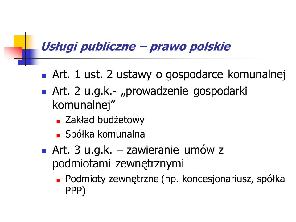 Usługi publiczne – prawo polskie