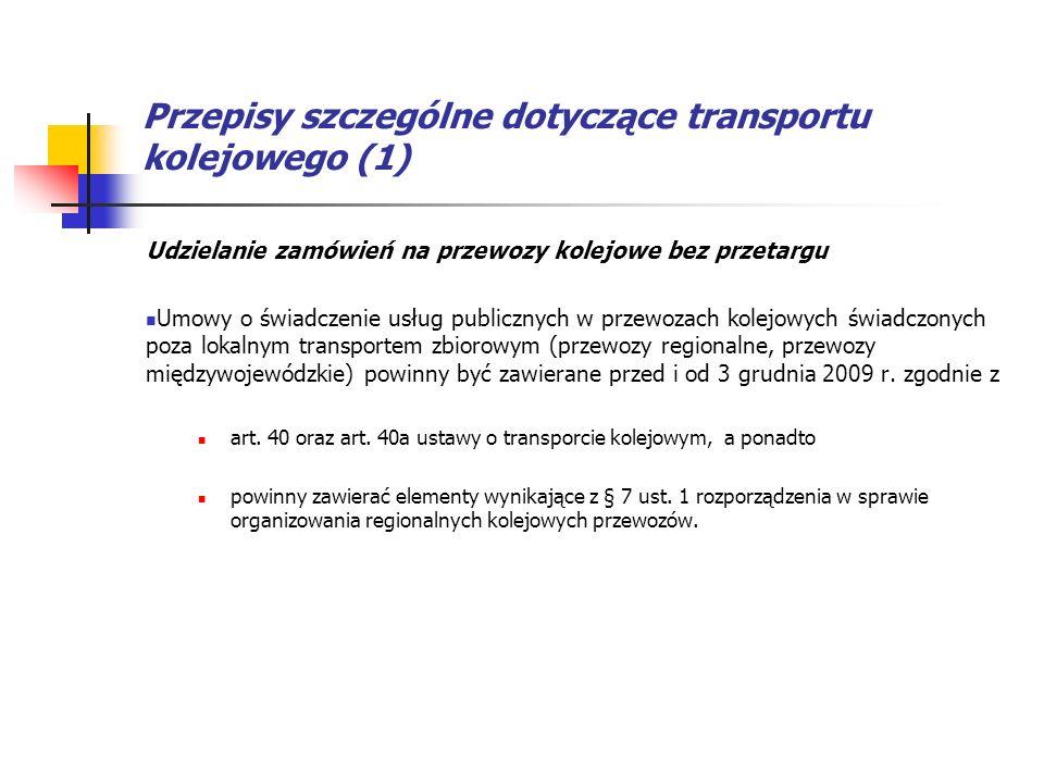 Przepisy szczególne dotyczące transportu kolejowego (1)