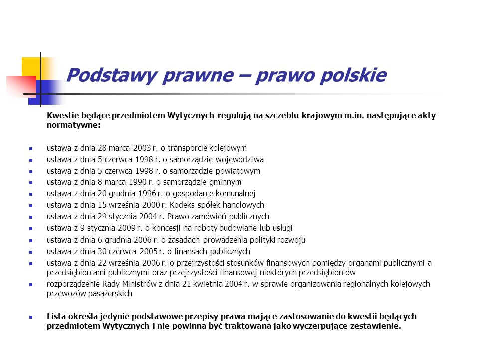 Podstawy prawne – prawo polskie