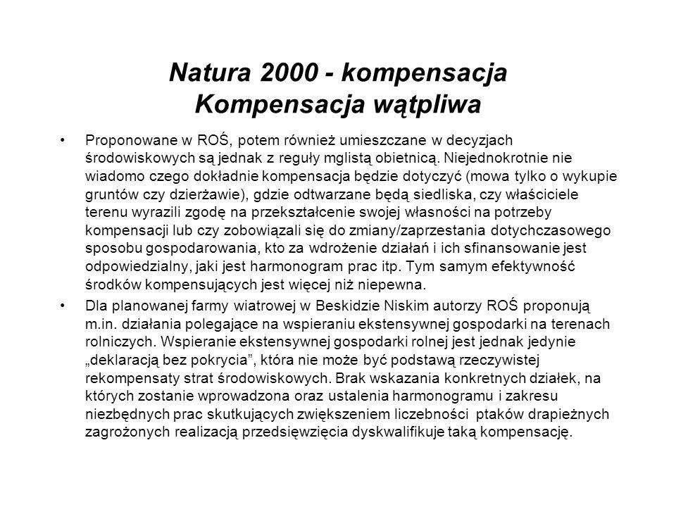 Natura 2000 - kompensacja Kompensacja wątpliwa