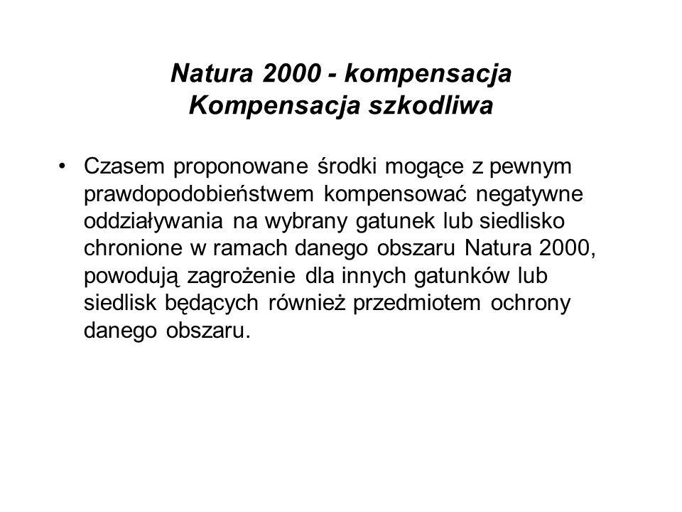 Natura 2000 - kompensacja Kompensacja szkodliwa