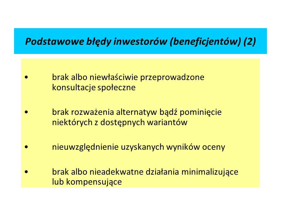 Podstawowe błędy inwestorów (beneficjentów) (2)