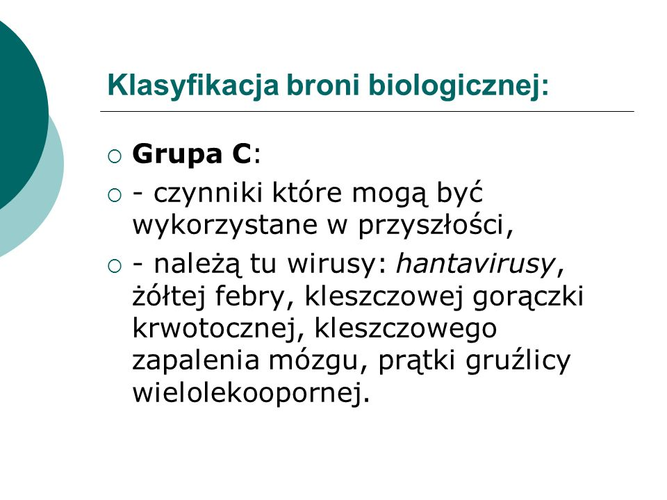 Klasyfikacja broni biologicznej: