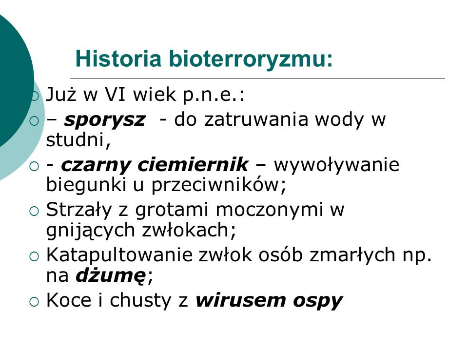 Historia bioterroryzmu: