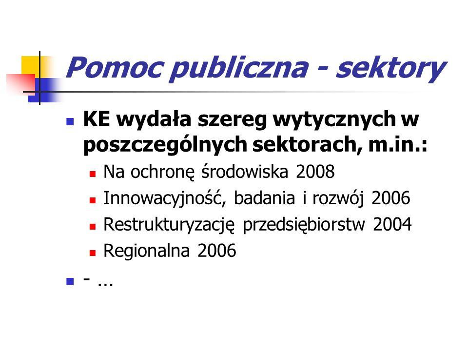 Pomoc publiczna - sektory