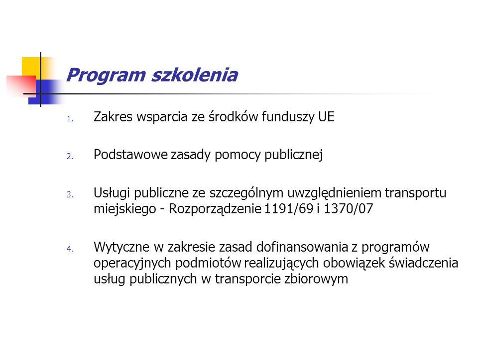 Program szkolenia Zakres wsparcia ze środków funduszy UE