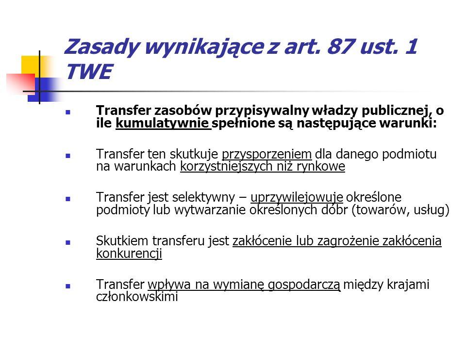 Zasady wynikające z art. 87 ust. 1 TWE