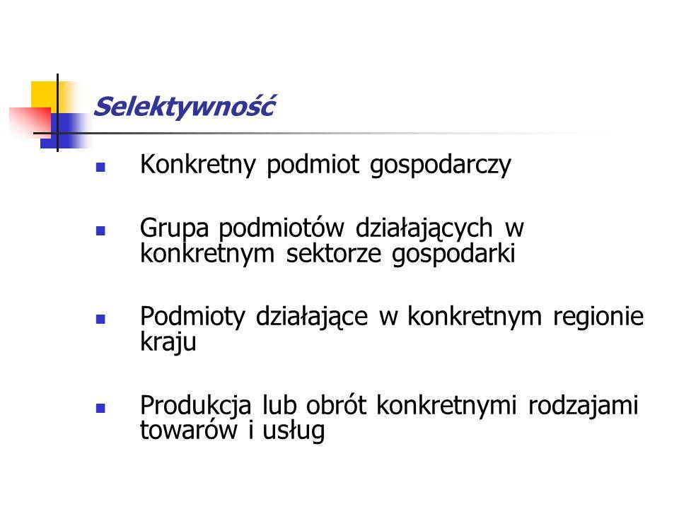 Selektywność Konkretny podmiot gospodarczy. Grupa podmiotów działających w konkretnym sektorze gospodarki.