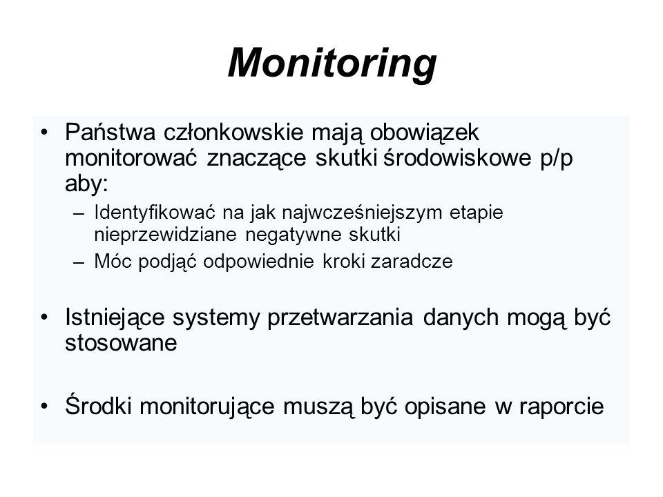 MonitoringPaństwa członkowskie mają obowiązek monitorować znaczące skutki środowiskowe p/p aby: