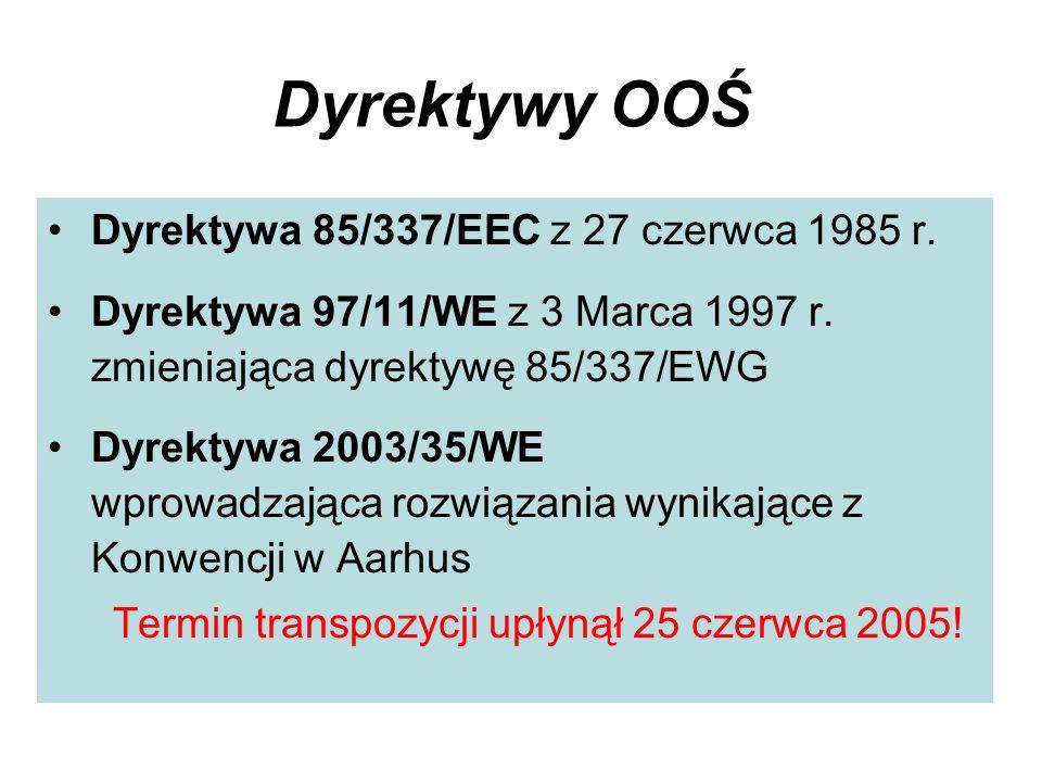 Dyrektywy OOŚ Dyrektywa 85/337/EEC z 27 czerwca 1985 r.