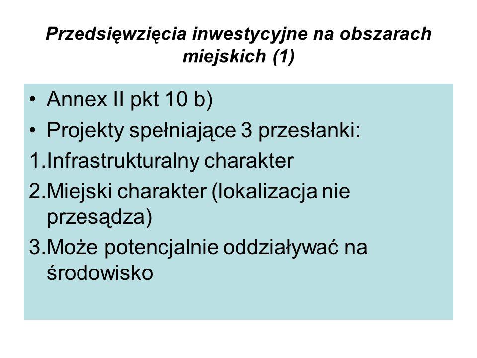 Przedsięwzięcia inwestycyjne na obszarach miejskich (1)