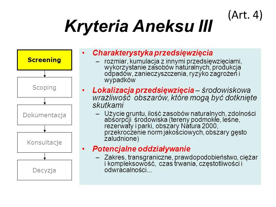 Kryteria Aneksu III (Art. 4) Charakterystyka przedsięwzięcia