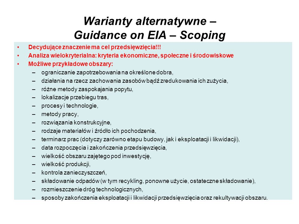 Warianty alternatywne – Guidance on EIA – Scoping