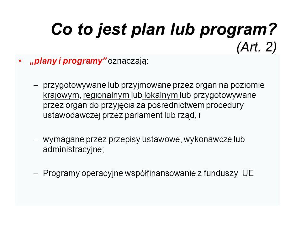Co to jest plan lub program (Art. 2)