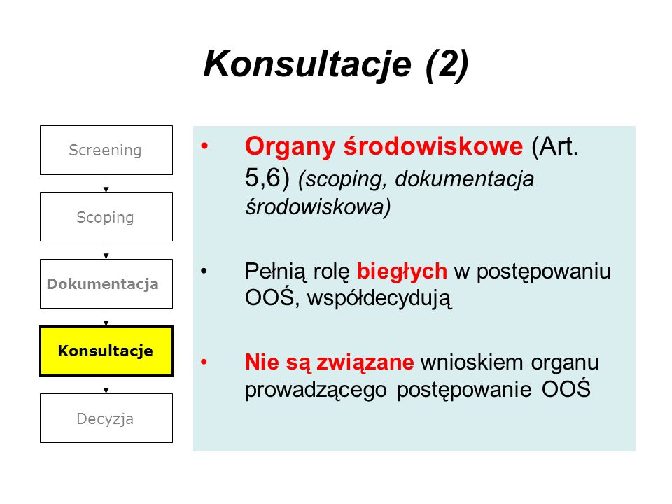 Konsultacje (2) Screening. Scoping. Dokumentacja. Konsultacje. Decyzja. Organy środowiskowe (Art. 5,6) (scoping, dokumentacja środowiskowa)