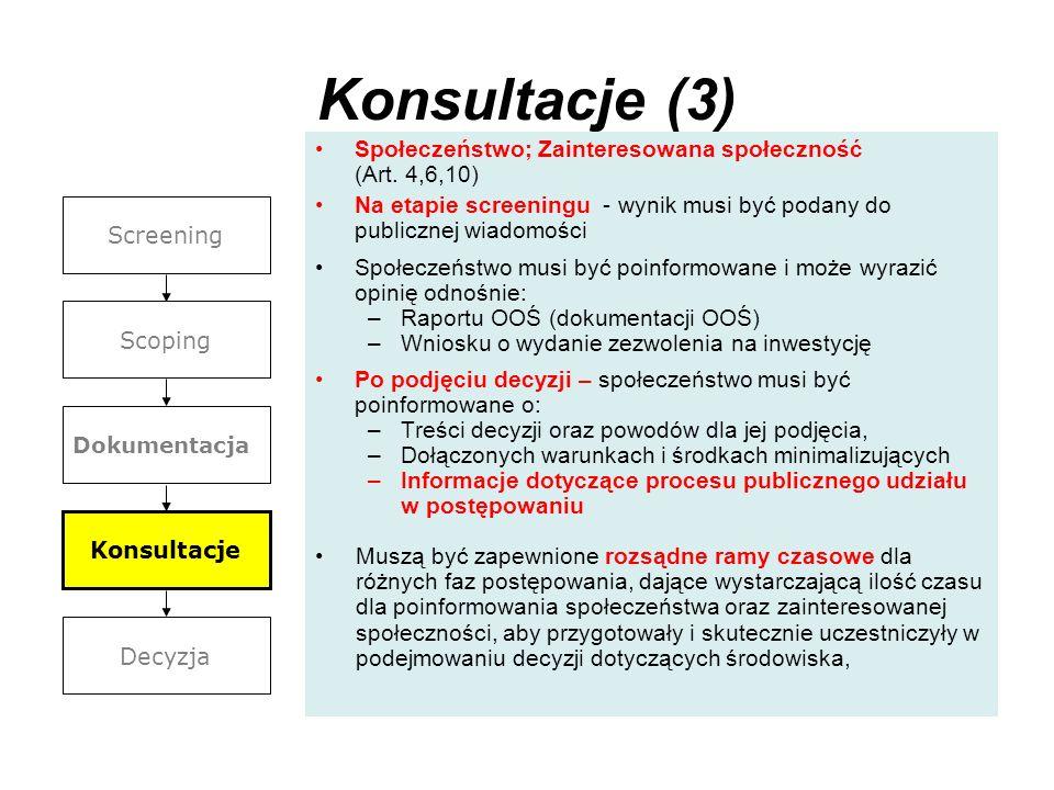 Konsultacje (3)Społeczeństwo; Zainteresowana społeczność (Art. 4,6,10) Na etapie screeningu - wynik musi być podany do publicznej wiadomości.